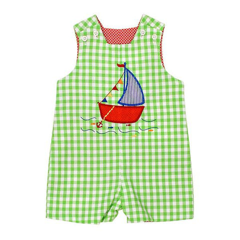 The Bailey Boys Reversible Sailboat Appliqué Shortall