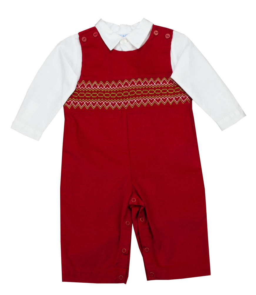 Vive La Fete Red Corduroy Longall 2pc Set - Toddler Boy
