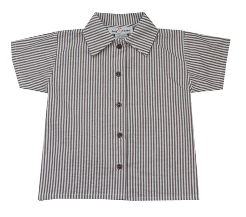 Jack & Teddy Brown Seersucker Shirt - Baby/Toddler/Boy