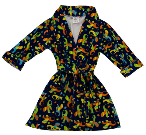 Funtasia Too Airplane Print Robe - Boy
