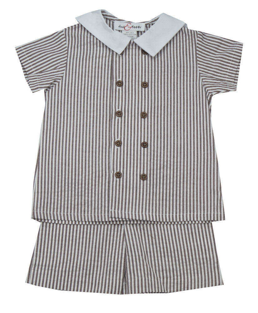 Jack & Teddy Brown Stripe Short Set - Kids on King