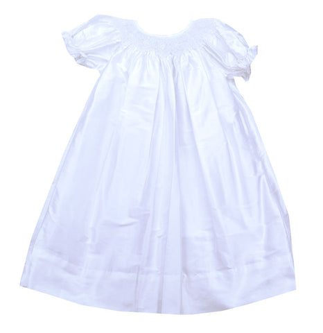 Le' Za Me White Silk Smocked Bishop Dress - Baby/Toddler/Girl