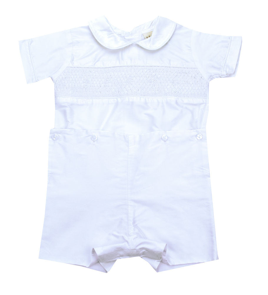Le' Ze Me White Smocked Silk Button Waist - Kids on King