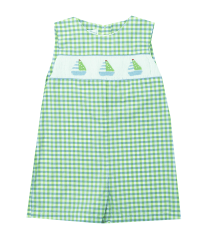 Petit Ami Sailboat Smocked Shortall