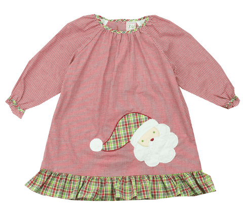 Petit Ami Santa Appliqué Dress with Bloomers