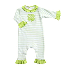 Magnolia Polka Dot Shamrock Appliqué Ruffled Playsuit