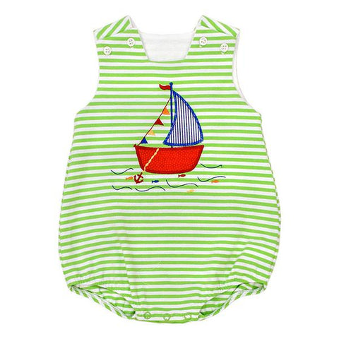 The Bailey Boys Knit Sailboat Appliqué Bubble