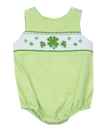 Le Za Me Smocked Shamrock Bubble-Baby Boy