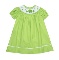 Le' Za Me Smocked Shamrock Bishop Dress- Baby/Toddler Girl