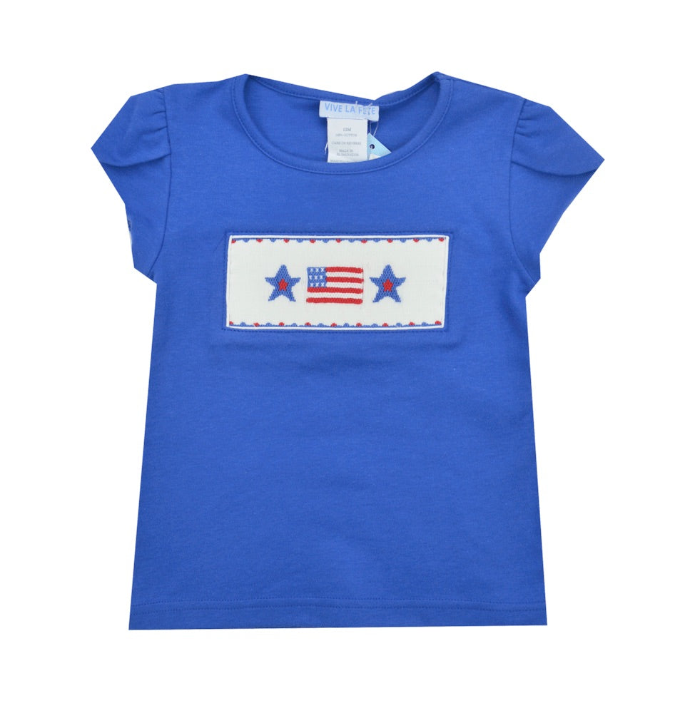 Vive La Fete Smocked Flag Tee Shirt- Baby/Toddler/Girl