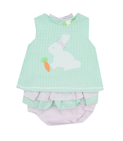 Petit Ami Seersucker Bunny Bloomer Set-Baby Girl