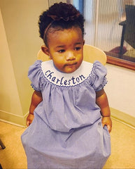Kids on King Charleston Themed Smocked Romper - Baby Girl