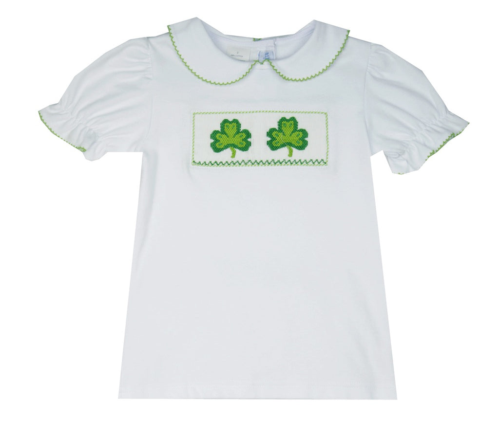 Vive La Fete Smocked Shamrock Tee Shirt-Baby/Toddler Girl