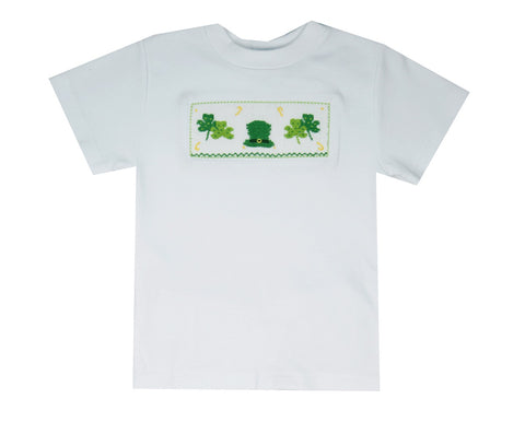 Vive La Fete Smocked Shamrock Tee Shirt-Baby/Toddler Boy