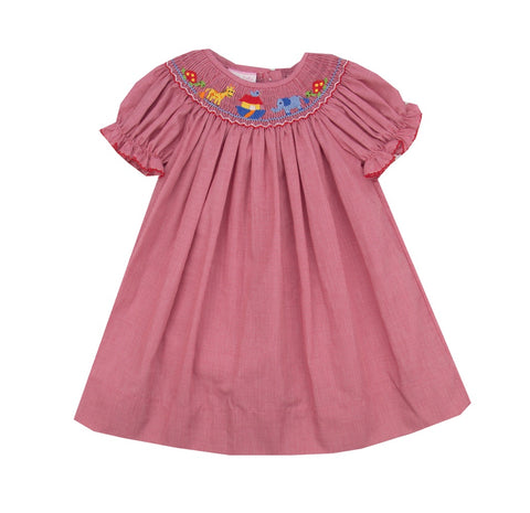 Petit Bebe Noah's Ark Smocked Bishop Dress- Baby/Toddler Girl