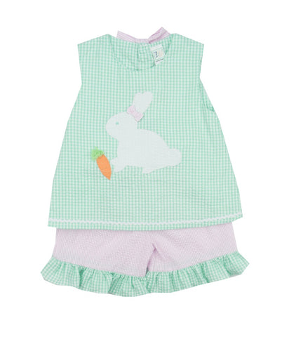Petit Ami Seersucker Bunny Short Set-Toddler Girl