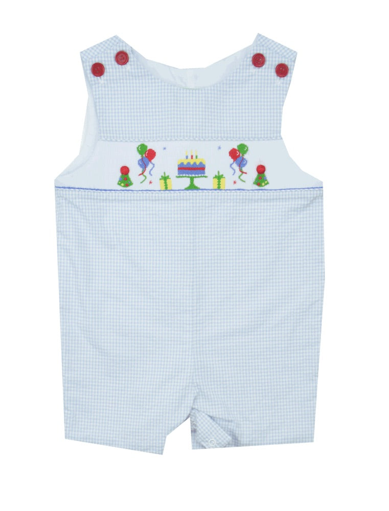 Little Threads Smocked Seersucker Birthday Shortall- Baby/Toddler Boy