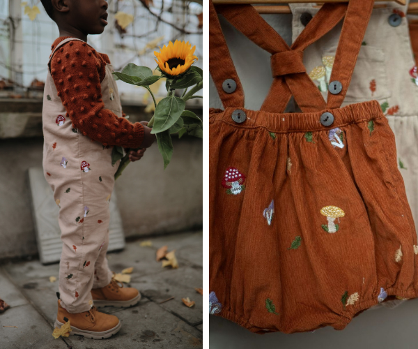Uniqua Mushrooms corduroy collection for babies and kids