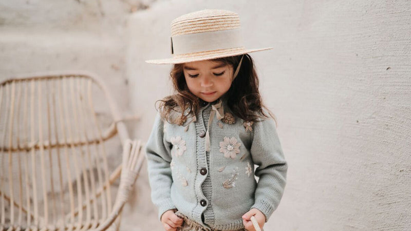 Hand knitted cotton cardigan for girls