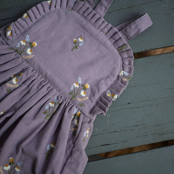 corduroy lavender dress for kids with embroidered flowers
