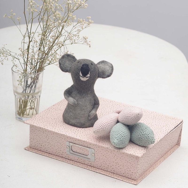 koala toy in dark grey with bunny teether