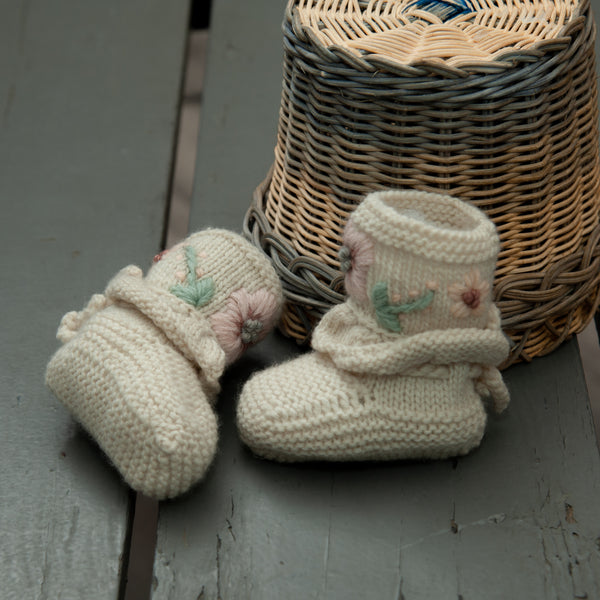 hand embroidered white baby footies