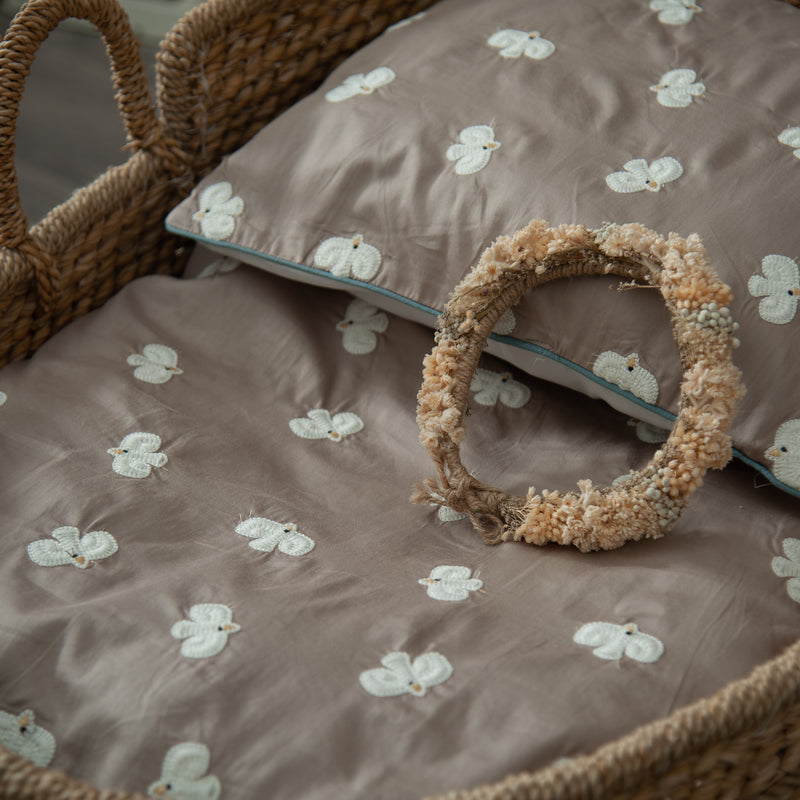 cotton embroidered taupe bedding set with white birds for kids and babies