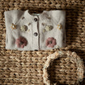 hand knitted and embroidered floral cardigan for kids and babies in nude colour