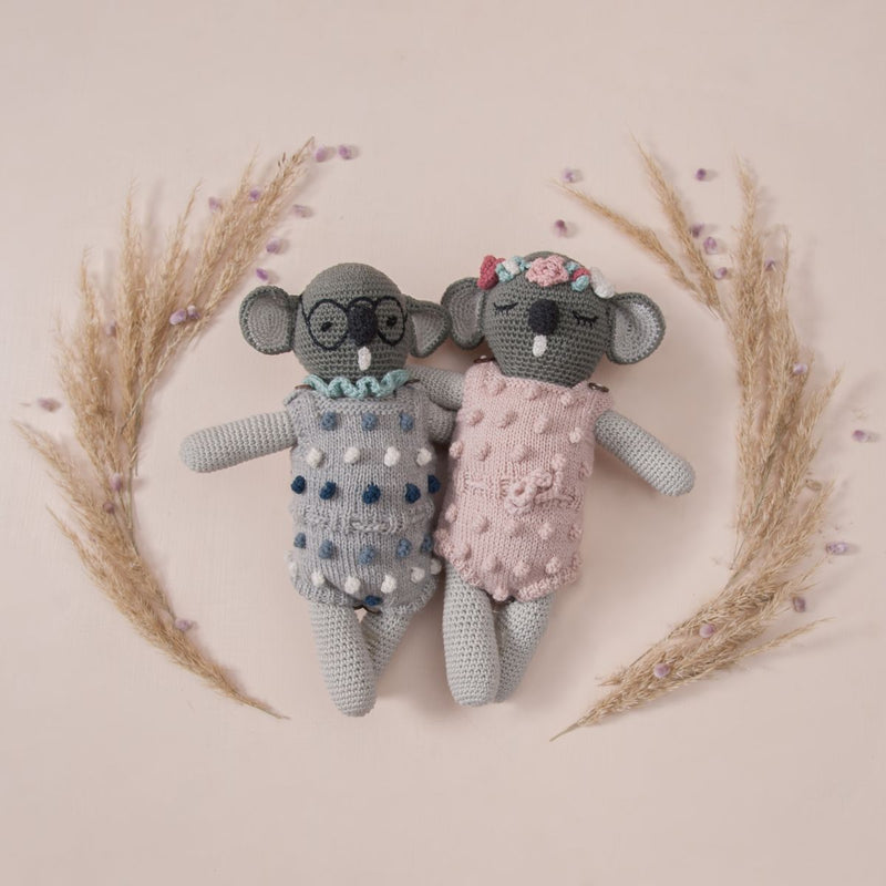 hand knitted popcorn rompers in grey and pink for dolls