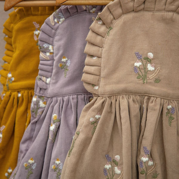"Uniqua pinafore dress ""Wildflower"" Mustard, baby"