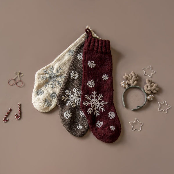 Handknitted christmas snowflake stocking