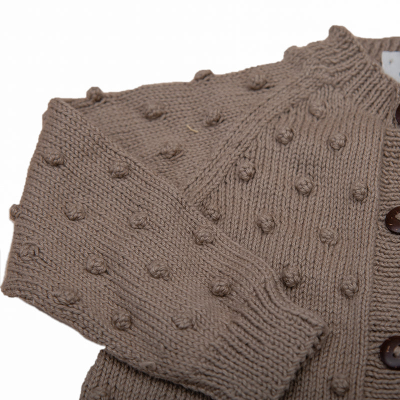 detail close up picture of bubble cardigan nutty brown