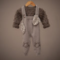 cashmere suspender romper in colour taupe with nutty brown bubble sweater and bubble mittens in nude