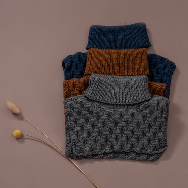 hand knitted smock neck warmer in dark grey, caramel and navy