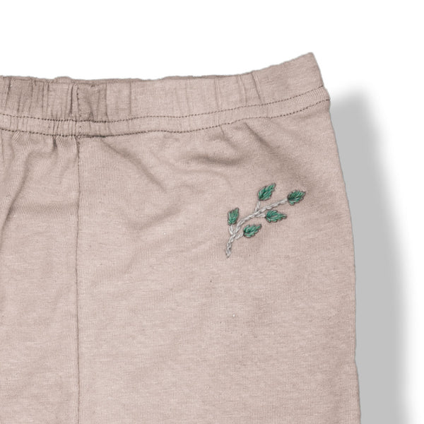 Hemp/Cotton Leggings Oats with Leaf Embroidery