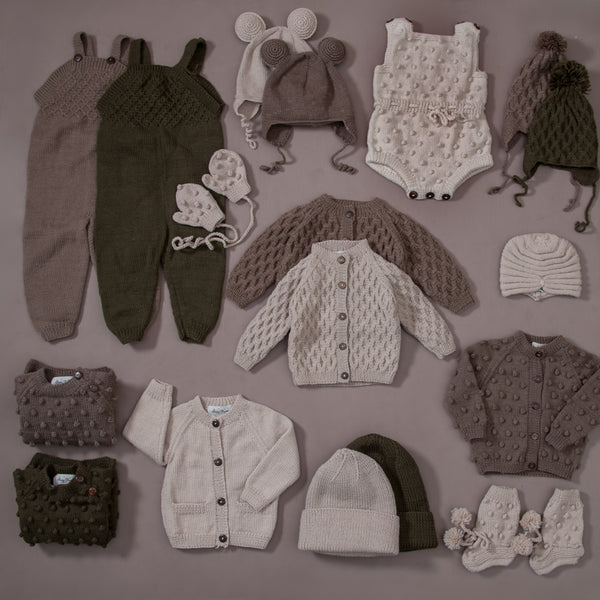 flatlay collage of bubble cardigan nutty brown and many more