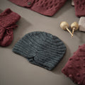 hand knitted dark grey hat for girls