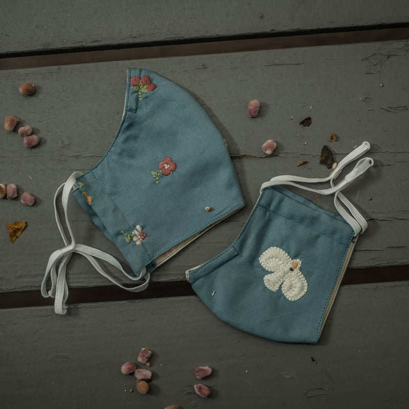 embroidered face masks for mama and child in blue
