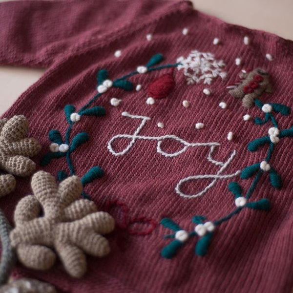 detail picture of hand knitted christmas sweater deep berry