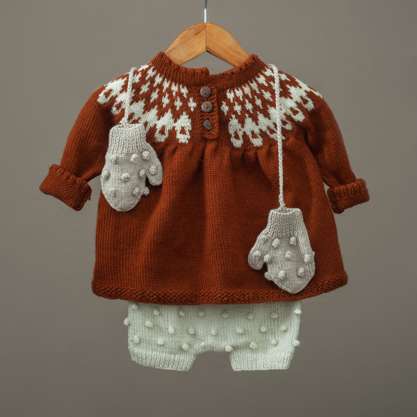 Icelandic sweater Rust & Cream White