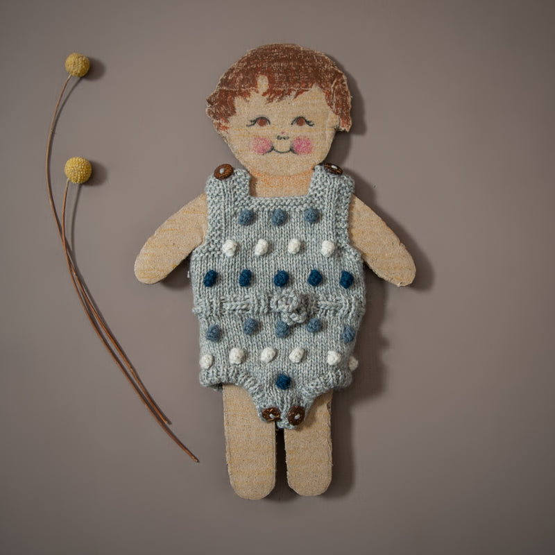 hand knitted popcorn romper in blue and grey for dolls