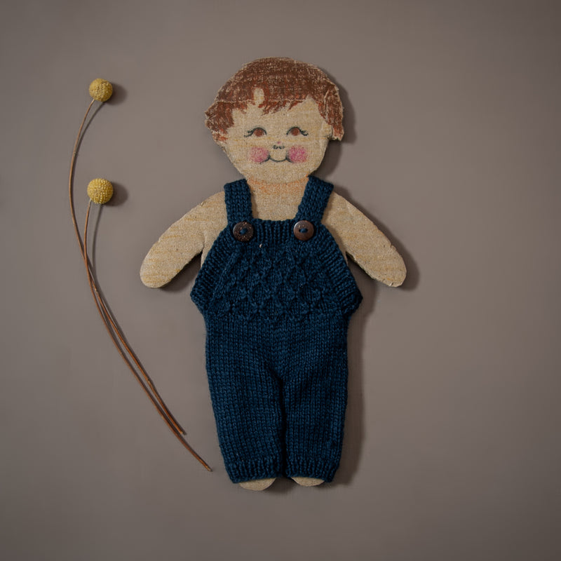 hand knitted navy jumpsuit for dolls