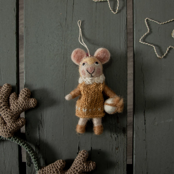 handmade wool yellow mouse christmas tree ornament