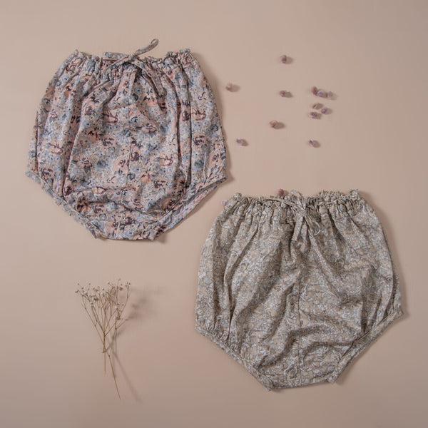 baby bloomers with floral print on earthy and pink color