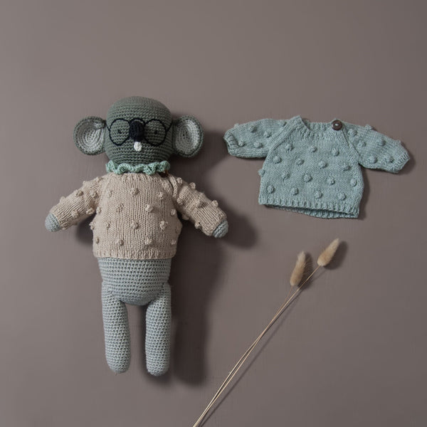 knitted popcorn sweater for dolls