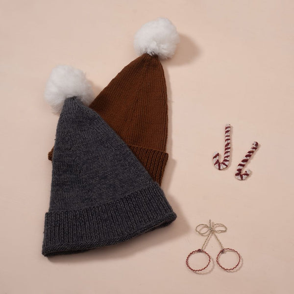Hand knitted christmas hat caramel,dark grey with pompom on top