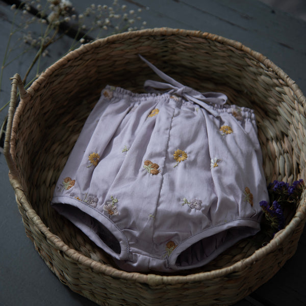 embroidered lilac bloomers