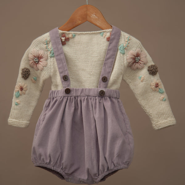 corduroy lavender suspender shorts for kids paired with cream white embroidered sweater