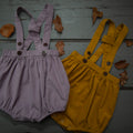 lavender and mustard corduroy suspender shorts for baby and kids