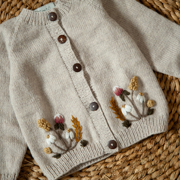 hand knitted and embroidered nude cardigan for kids and babies